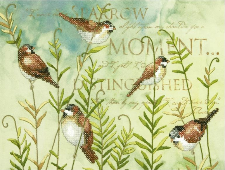click here to view larger image of Birds On Ferns (stamped cross stitch kit)