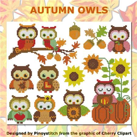 click here to view larger image of Autumn Owls (chart)