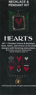 click here to view larger image of Hearts Necklace Pendant Kit (counted cross stitch kit)