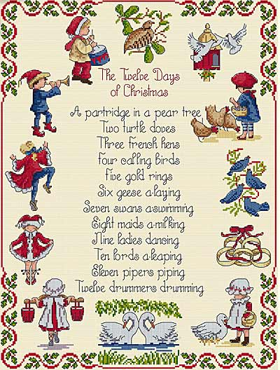 click here to view larger image of 12 Days of Christmas (All Our Yesterdays) (counted cross stitch kit)
