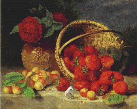 click here to view larger image of A Basket of Strawberries, Cherries, a Butterfly and a Red Rose in a Vase on a Stone Ledge (chart)