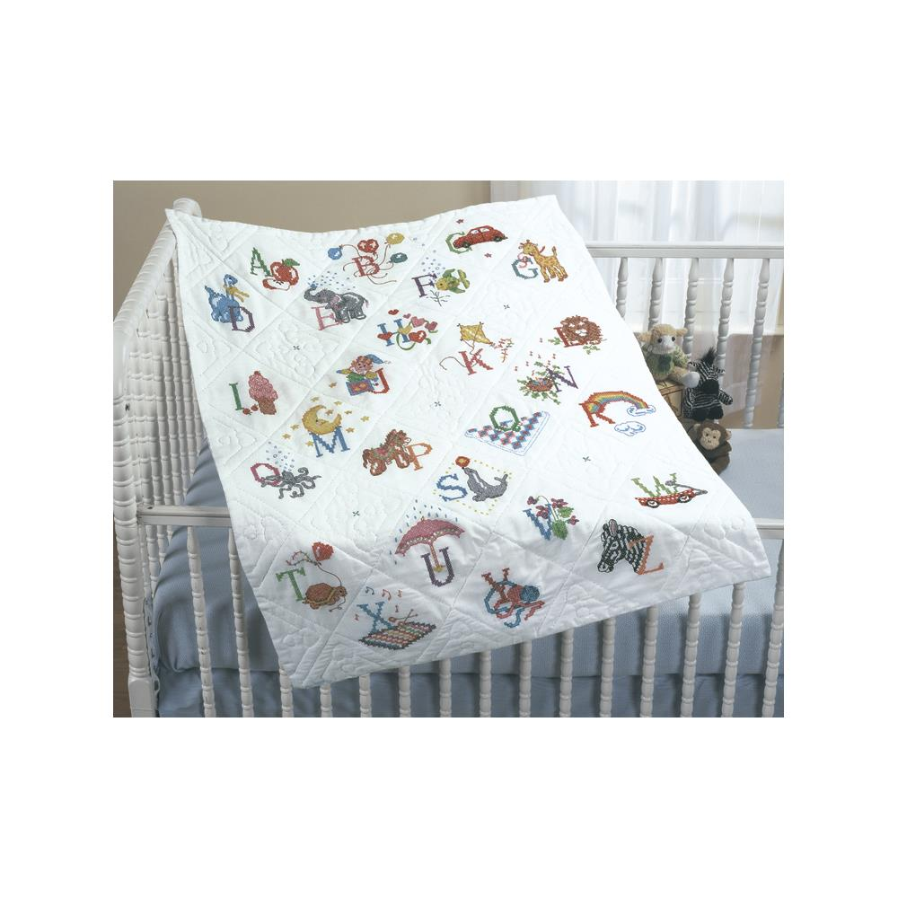 click here to view larger image of Alphabet Dreams - Stamped Cross Stitch  Baby Quilt (stamped cross stitch)