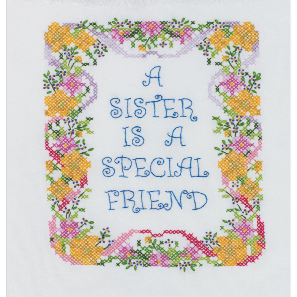click here to view larger image of A Sister is a Special Friend (stamped cross stitch kit)