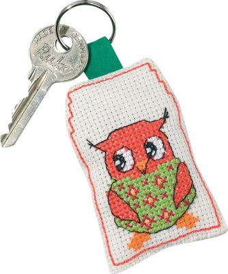 click here to view larger image of Rose Owl Keyring (counted cross stitch kit)