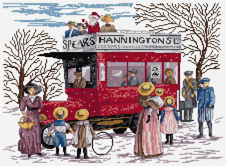 click here to view larger image of Christmas Bus  (kit) (counted cross stitch kit)