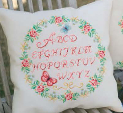 click here to view larger image of Alphabet and Roses Cushion (counted cross stitch kit)