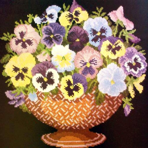 click here to view larger image of Pansy Bowl (needlepoint)