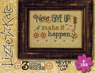 click here to view larger image of 3 Little Words - Never Give Up (chart with charms/buttons)