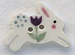click here to view larger image of White Leaping Rabbit Button (buttons)