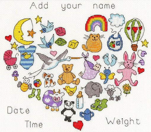 click here to view larger image of Baby Heart (counted cross stitch kit)