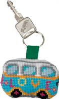 click here to view larger image of Love VW Bus Keyring (counted cross stitch kit)