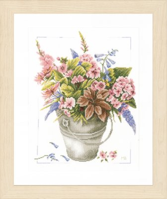 click here to view larger image of Boquet of Flowers In Bucket (counted cross stitch kit)