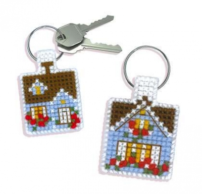 click here to view larger image of Crazy Cottage Keychain (counted cross stitch kit)