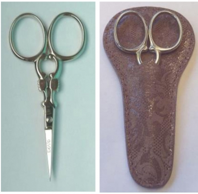 click here to view larger image of 3-1/2in Nickel Plated Carbon Steel Embroidery Scissors with Lavender Embossed Leather Sheath (accessory)