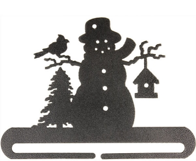 click here to view larger image of Frosty Snowman Split Bottom Bellpull - Charcoal - 6in (accessory)