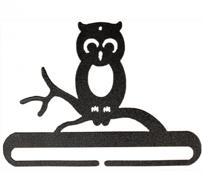 click here to view larger image of Whimsical Owl Split Bottom Bellpull - Charcoal - 6in (accessory)