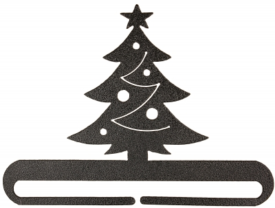 click here to view larger image of Christmas Tree Split Bottom Bellpull - Charcoal - 6in (accessory)
