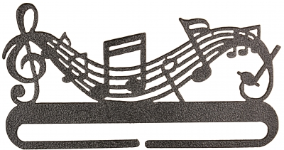 click here to view larger image of Music Split Bottom Bellpull - Charcoal - 8in (accessory)