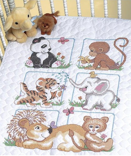 click here to view larger image of Animal Babies Quilt  (stamped cross stitch kit)