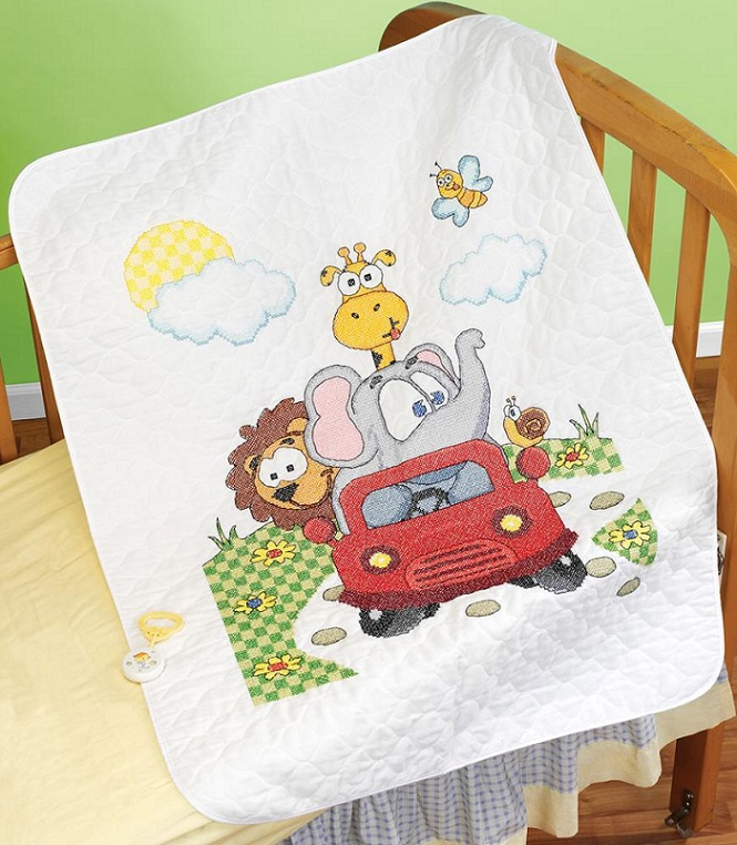 click here to view larger image of Animal Fun Ride Quilt/Crib Cover (stamped crib cover)