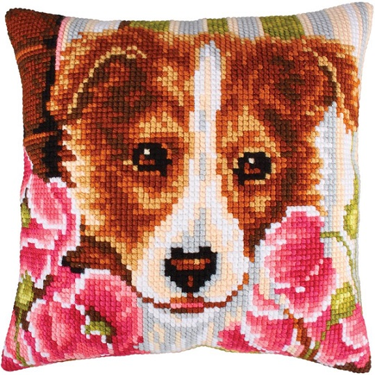 click here to view larger image of Dog and Pink Poppies (needlepoint)