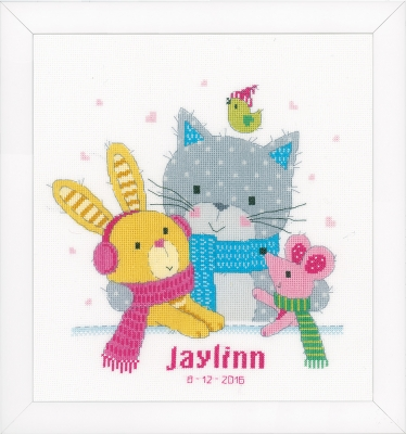click here to view larger image of Best Friends - Birth Announcement (counted cross stitch kit)