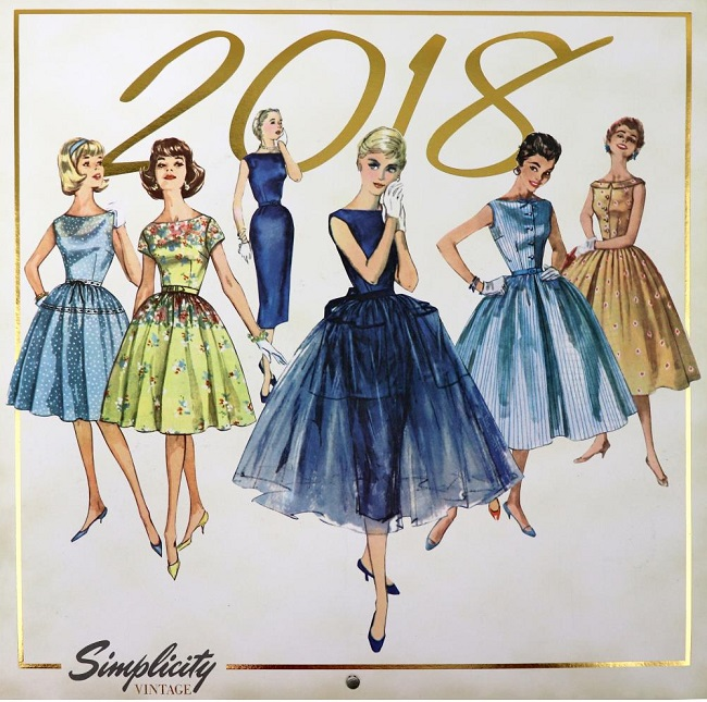 click here to view larger image of Simplicity Vintage 2018 Wall Calendar (book)