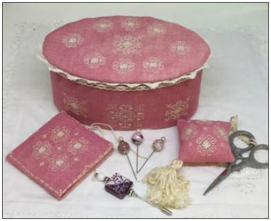 click here to view larger image of Ca'Rosada - Pink Sewing Box and Lace (chart)