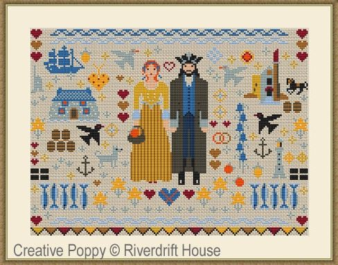 click here to view larger image of Cornish Folksie Sampler (counted cross stitch kit)
