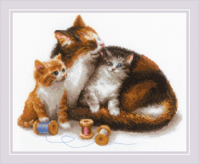 click here to view larger image of Cat with Kittens (counted cross stitch kit)