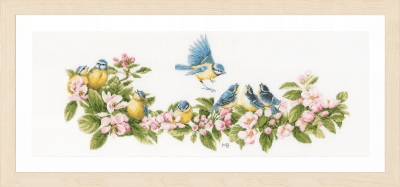 click here to view larger image of Blue Tits and Blooms (counted cross stitch kit)