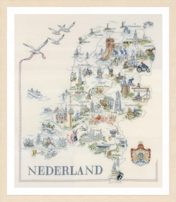 click here to view larger image of Map of Holland (counted cross stitch kit)