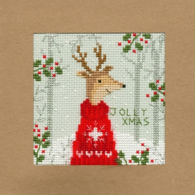 click here to view larger image of Xmas Deer - Christmas Card  (counted cross stitch kit)