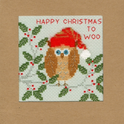 click here to view larger image of Xmas Owl - Christmas Card  (counted cross stitch kit)