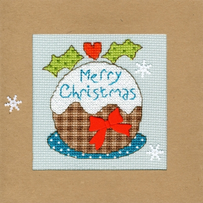click here to view larger image of Snowy Pudding - Christmas Card  (counted cross stitch kit)