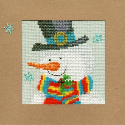 click here to view larger image of Snowy Man - Christmas Card  (counted cross stitch kit)