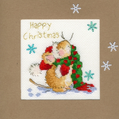 click here to view larger image of Counting Snowflakes - Christmas Card  (counted cross stitch kit)