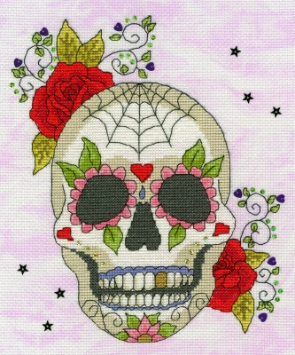 Sugar Skull - Halloween - click here for more details about counted cross stitch kit