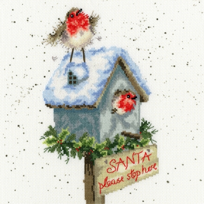 click here to view larger image of Santa Please Stop Here (counted cross stitch kit)