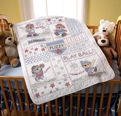 click here to view larger image of Baseball Buddies Crib Cover (stamped cross stitch kit)