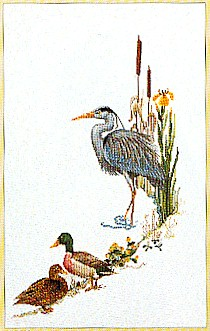 click here to view larger image of Blue Heron With Mallards (counted cross stitch kit)