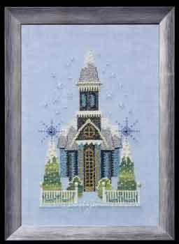 click here to view larger image of Little Snowy Blue Church - Snow Globe Village Series (chart)