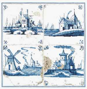 click here to view larger image of Antique Tiles - Villages (counted cross stitch kit)