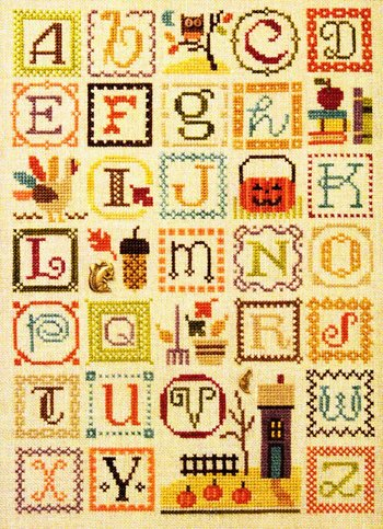 click here to view larger image of Autumn Alphabet (chart with charms/buttons)