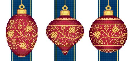 click here to view larger image of Red Faberge Christmas Ornaments Collection 2 (3 designs) (chart)
