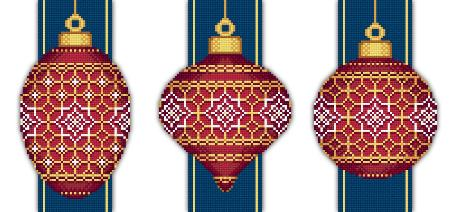 click here to view larger image of Red Faberge Christmas Ornaments Collection 5 (3 designs) (chart)