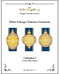 click here to view larger image of Yellow Faberge Christmas Ornaments Collection 3 (3 designs) (chart)