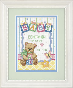 click here to view larger image of Baby  Bear  Birth Record (counted cross stitch kit)