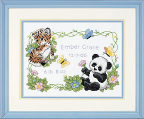 click here to view larger image of Baby Animal Birth Record (stamped cross stitch kit)